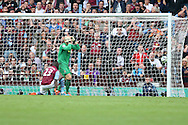 Aly Cissokho of Aston Villa (23) deflects a Kieran Gibbs strike into his own goal to make the score 0-3. Barclays Premier league match, Aston Villa v Arsenal at Villa Park in Birmingham on Saturday 20th Sept 2014<br /> pic by Mark Hawkins, Andrew Orchard sports photography.