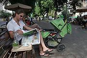 Israel, Tel Aviv, an outdoor cafe in Ben-Zion Boulevard