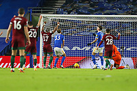 Football - 2020 / 2021 Premier League - Brighton and Hove Albion vs. Wolverhampton Wanderers - The Amex Stadium<br /> <br /> A helpless Dan Burn of Brighton looks on as his deflection turns the ball into his own net at The Amex Stadium Brighton <br /> <br /> COLORSPORT/SHAUN BOGGUST