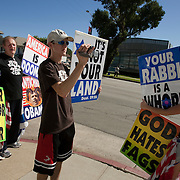 Members of the Westboro Baptist Church demonstrate in Los Angeles. Picketing Yeshiva University High School for boys, a jewish school.