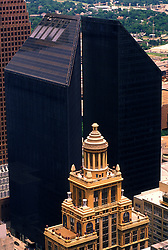 Stock photo of an aerial view of the Esperson building and Shell Plaza in downtown Houston.