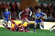 Sarel Pretorius of the Dragons breaks away from his tacklers and runs in to score his 2nd half try. Guinness Pro12 rugby match, Scarlets v Newport Gwent Dragons at the Parc y Scarlets in Llanelli, West Wales on Saturday 8th October 2016.<br /> pic by  Andrew Orchard, Andrew Orchard sports photography.