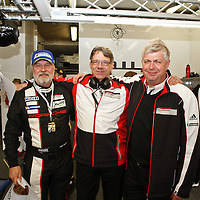 In the Porsche pit garage after the race Olaf Manthey, Hartmut Kristen, Wolfgang Hatz (l-r) (Le Mans 24H 2013)