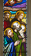 Stained glass window church of Saint John, Saxmundham, Suffolk, England, UK artist Louisa Beresford 1818-91