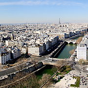 Aerial view of Seine and Paris skyline from the roof of Notre Dame de Paris.