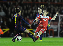 Bristol Academy Womens' Grace McCatty challenges FC Barcelona's Ruth Garcia - Photo mandatory by-line: Dougie Allward/JMP - Mobile: 07966 386802 - 13/11/2014 - SPORT - Football - Bristol - Ashton Gate - Bristol Academy Womens FC v FC Barcelona - Women's Champions League