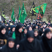LONDON, ENGLAND - DECEMBER 27:  A group of  Shia Muslim women take part in the Ashura procession from Marble Arch to Holland Park Mosque on December 27, 2009 in London, England. Ashura is a 10 day period of mourning for Imam Hussein, the seven-century grandson of Prophet Mohammad who was killed in a battle in Karbala in Iraq, in 680 AD.  (Photo by Marco Secchi/Getty Images)