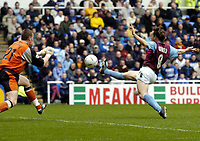 Photo: Richard Lane.<br /> Reading v West Ham United. Nationwide Division One. 03/04/2004.<br /> David Connolly goes close to scoring as Jamie Ashdown covers.