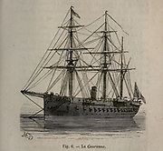 19th century Woodcut print on paper of French ship Le Couronne from L'art Naval by Leon Renard, Published in 1881