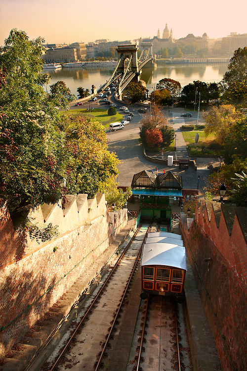 Funicular Railway - Castle District - Budapest, Hungary .<br /> <br /> Visit our HUNGARY HISTORIC PLACES PHOTO COLLECTIONS for more photos to download or buy as wall art prints https://funkystock.photoshelter.com/gallery-collection/Pictures-Images-of-Hungary-Photos-of-Hungarian-Historic-Landmark-Sites/C0000Te8AnPgxjRg