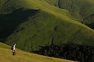Ecotourist Niel Birnie. Alpine grasslands in the Tarku mountains Natura 2000 site, Southern Carpathians, Romania, Rewilding Europe site