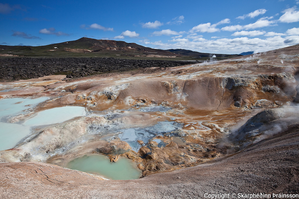 The volcano Krafla in background and geothermal area Leirhnjúkur in foreground