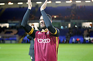 Goalscorer Bradford City defender Kelvin Mellor (15) celebrates after  the The FA Cup 2nd round match between Peterborough United and Bradford City at London Road, Peterborough, England on 1 December 2018.