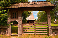 19th century traditional farm house & gate of the Iza Valley, The Village museum near Sighlet, Maramures, Northern Transylvania .<br /> <br /> Visit our ROMANIA HISTORIC PLACXES PHOTO COLLECTIONS for more photos to download or buy as wall art prints https://funkystock.photoshelter.com/gallery-collection/Pictures-Images-of-Romania-Photos-of-Romanian-Historic-Landmark-Sites/C00001TITiQwAdS8