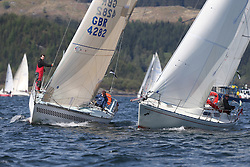 The Clyde Cruising Club's Scottish Series held on Loch Fyne by Tarbert. Day 2 racing in a perfect southerly<br /> <br /> GBR4282, Savage, Micheal Hawkins , CCC / RGYC , Hustler SJ36 and GBR1092, Pandanova, Stevie Andrews,  Strangford LoughYC, Albin Nova