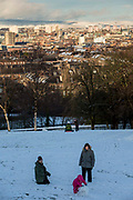 A family play in the snow, Queens Park, Glasgow.  The park is known for its view across the south side of Glasgow, with a snow covered Campsie Fells in the background.