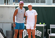Winners of the 2020 French Open Iga Swiatek of Poland and Rafael Nadal of Spain practice together 20 minutes on Court 5 ahead of the French Open 2021, a Grand Slam tennis tournament at Roland-Garros stadium on May 29, 2021 in Paris, France - Photo Jean Catuffe / ProSportsImages / DPPI