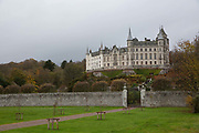 Dunrobin Castle on the 5th November 2018 in Golspie, Scotland in the United Kingdom. Dunrobin Castle is a stately home in Sutherland, in the Highland area of Scotland, and the family seat of the Earl of Sutherland and the Clan Sutherland.