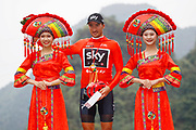 Podium Gianni Moscon (ITA - Team Sky) red leader jersey during the Tour of Guangxi 2018, stage 4 cycling race, Nanning - Nongla Scenic Area (152,2 km) on October 19, 2018 in Nongla, China - Photo Luca Bettini / BettiniPhoto / ProSportsImages / DPPI