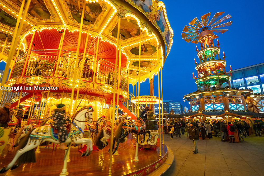 Berlin, Germany. 29 November, 2018.  Traditional double height carousel and Pyramid at the Christmas Market held at Alexanderplatz in Berlin, Germany.