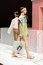 Models on the catwalk during the Anya Hindmarch London Fashion Week SS18 show held at Lindley Hall, London.