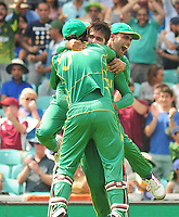 Cricket - 2017 ICC Champions Trophy - Final: Pakistan vs. India<br /> <br /> Mohammad Amir of Pakistan celebrates his wicket of Virat Kohli with Wicket keeper Sarfraz Ahmed at the Kia Oval.<br /> <br /> COLORSPORT/ANDREW COWIE