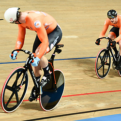 03-03-2019: WK wielrennen: Baan: Pruszkow <br />- Cycling - UCI Track Cycling World Championships presented by Tissot - Velodrome BGZ Arena, Pruszkow, Poland - Men's Sprint gold finals Jeffery Hoogland and Harrie Lavreysen of The Netherlands