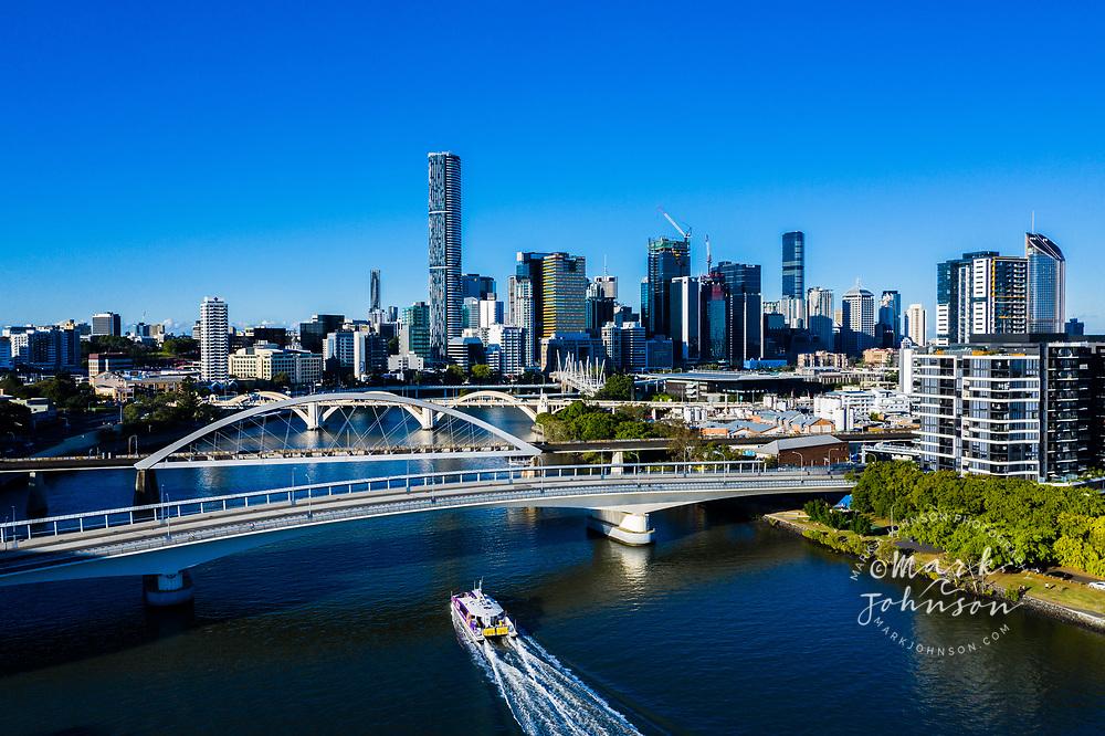 Aerial view of the Go Between Bridge over the Brisbane River, Brisbane, Queensland, Australia