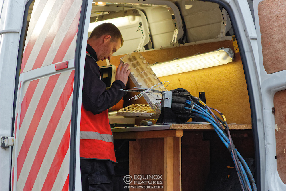 London, United Kingdom - 10 October 2015<br /> Huge drill cuts Virgin fiber cable. Thousand customers without weekend TV and internet. Severed fiber optic cables have caused up to a thousand customers of Virgin Media in Shoreditch and Hackney in London to be left without broadband internet and cable television this weekend. Engineers believe the total loss of service, which continues to be down this Saturday evening, is unlikely to be fixed until Sunday lunchtime at the earliest. The damage to a primary cable carrying 96 fiber optic cables including some belonging to the EE mobile network was caused by a huge drilling rig on a nearby construction site for a block of flats being built by Formation Construction Ltd. An engineer working on the drilling site claimed they had not 'drilled through the cable'. 'We damaged the cable' he said. He then demanded we delete images of the offending drilling rig. Technicians working on behalf of Virgin Media were working hard to replace the damaged cables. Virgin Media press office did not respond to repeated requests to speak with them for comment today.<br /> (photo by: EQUINOXFEATURES.COM)<br /> <br /> Picture Data:<br /> Photographer: Equinox Features<br /> Copyright: ©2015 Equinox Licensing Ltd. +448700 780000<br /> Contact: Equinox Features<br /> Date Taken: 20151010<br /> Time Taken: 16531705<br /> www.newspics.com