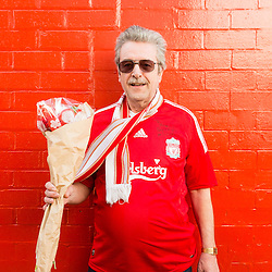 Anfield, Liverpool, UK. 15th April, 2014. <br /> Brian, an astrophyics student at Liverpool Uni, came to Anfield to pay his respects to the 96 who died 25 years ago at Hillsborough.