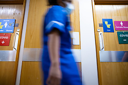 © Licensed to London News Pictures . 18/02/2021. Bury , UK .  Separate Covid Positive and Covid Negative toilets and showers on the ward . Inside Fairfield Hospital , where patients are being treated for the effects of Coronavirus . Photo credit : Joel Goodman/LNP