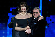 Brussels , 01/02/2020 : Les Magritte du Cinema . The Academie Andre Delvaux and the RTBF, producer and TV channel , present the 10th Ceremony of the Magritte Awards at the Square in Brussels . <br /> Pix : Monica Bellucci; Pascal Duquenne , dressed by Maison Degand<br /> Credit : Daina Le Lardic / Isopix