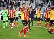 Florian Sotoca of Lens celebrates with teammates the victory following the French championship Ligue 1 football match between RC Lens (Racing Club de Lens) and Paris Saint-Germain (PSG) on September 10, 2020 at Stade Felix Bollaert in Lens, France - Photo Juan Soliz / ProSportsImages / DPPI