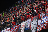 Olympiacos´s supporters during Champions League soccer match between Atletico de Madrid and Olympiacos at Vicente Calderon stadium in Madrid, Spain. November 26, 2014. (ALTERPHOTOS/Victor Blanco)