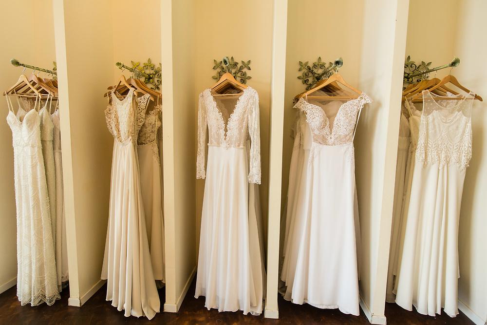 Wedding dresses are seen on display at Dorin Wedding Dresses Design in Tel Aviv's Merkaz Hair neighborhood