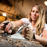 Artist and woodworker Greta de Parry at Crab Tree Farms. Photo by Jim Prisching
