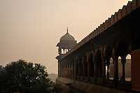 NEW DELHI, INDIA - CIRCA OCTOBER 2016: Exterior detail of the Jama Masjid Mosque in Delhi. Constructed in red sandstone and white marble the mosque is a popular tourist attraction in Delhi.
