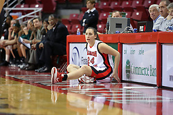 06 December 2008: Emily Hanley waits by the scorers table to in the game during a game between the Eastern Michigan Eagles and the Illinois State Redbirds on Doug Collins Court inside Redbird Arena on the campus of Illinois State University, Normal Il.