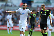 Gylfi Sigurdsson of Swansea city reacts after missing a chance to score. Premier league match, Swansea city v Chelsea at the Liberty Stadium in Swansea, South Wales on Sunday 11th Sept 2016.<br /> pic by  Andrew Orchard, Andrew Orchard sports photography.