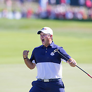 Ryder Cup 2016. Day Three. Patrick Reed of the United States celebrates on the eighteenth after defeating Rory McIlroy of Europe during the Sunday singles competition at  the Ryder Cup tournament at Hazeltine National Golf Club on October 02, 2016 in Chaska, Minnesota.  (Photo by Tim Clayton/Corbis via Getty Images)