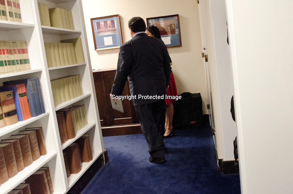Representative Blake Farenthold(R-TX) walks back into a House Committee on Oversight and Government Reform markup on current legislation goes on in the Rayburn House Office Building in Washington DC on April 13, 2011. Photo by Kris Connor