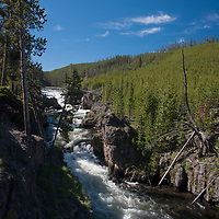 The Firestone River pours through Firehole Canyon  in Yellowstone National Park.