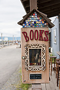 A take a book box on Homer Spit on Kamishak Bay in Homer, Alaska.