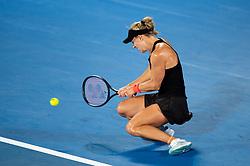January 10, 2019 - Sydney, NSW, U.S. - SYDNEY, AUSTRALIA - JANUARY 10: Angelique Kerber (GER) hits a backhand at The Sydney International Tennis in the match between Angelique Kerber (GER) and Petra Kvitova (CZE) on January 10, 2018, at Sydney Olympic Park Tennis Centre in Homebush, Australia. (Photo by Speed Media/Icon Sportswire) (Credit Image: © Steven Markham/Icon SMI via ZUMA Press)