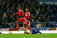 Tom Davies of Everton (r) slides in to tackle Abdoulaye Doucoure of Watford. Premier league match, Everton vs Watford at Goodison Park in Liverpool, Merseyside on Sunday 5th November 2017.<br /> pic by Chris Stading, Andrew Orchard sports photography.