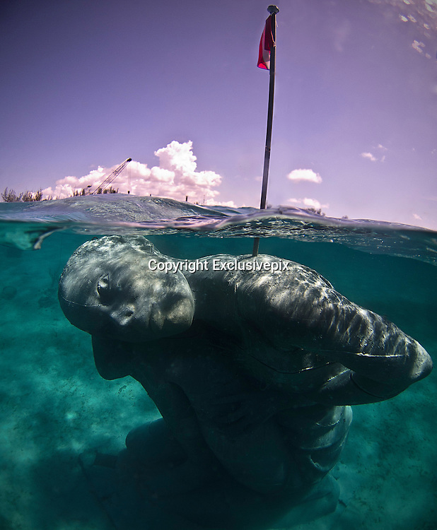 """Ocean Atlas<br /> <br /> Installed at the beginning of October 2014 on the western coastline of New Providence in Nassau, Bahamas, """"Ocean Atlas"""" references the Ancient Greek sculpture of Titan Atlas holding the heavens but depicts a young local Bahamian girl sustaining the ceiling of the ocean. The largest single sculpture ever to be deployed underwater, it reaches from the sea floor five meters up to the surface and weighs over sixty tonnes. Assembled underwater in sections using an ambitious new technique developed and engineered by Jason deCaires Taylor.<br /> <br /> The sculpture commissioned by B.R.E.E.F (Bahamas Reef Environment Educational Foundation) aims to create an underwater sculpture garden in honor of its founder Sir Nicholas Nuttall. It includes other sculptural works by local artists Willicey Tynes and Andret John and an artificial reef trail designed by Reefball.<br />  <br /> The new work, which during low tide will reflect a mirror image on the underside of the sea's surface, is a dramatic increase in scale from Taylor's previous works and ensures that even after substantial coral growth the figure will still remain highly recognisable. A solar light and flag is located on the highest point to aid marine navigation.<br /> <br /> Constructed using sustainable pH neutral materials it creates an artificial reef for marine life to colonise and inhabit, whilst drawing tourists away from over stressed natural reef areas. <br /> <br /> With our oceans and coral reefs currently facing collapse from numerous threats including; overfishing, habitat loss, ocean acidification, global warming and water pollution the piece symbolizes the burden we are currently asking future generations to carry and the collective responsibility we have to prevent its collapse.<br /> ©Jason deCaires Taylor/Exclusivepix"""