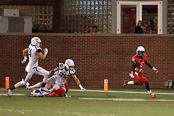 02 September 2017:   Artiss Henderson hits the outside and heads up the field with the ball during the Butler Bulldogs at  Illinois State Redbirds Football game at Hancock Stadium in Normal IL (Photo by Alan Look)