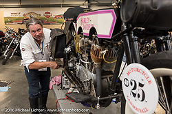 Scott Byrd of AR makes repairs to his 1916 Harley-Davidson at Triple S Harley-Davidson, Morgantown PA during the Motorcycle Cannonball Race of the Century. Stage-2 from York, PA to Morgantown, WV. USA. Sunday September 11, 2016. Photography ©2016 Michael Lichter.