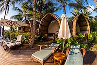 Cabanas by the swimming pool, Four Seasons Resort Bora Bora, French Polynesia.