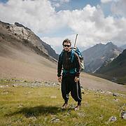 A trekker during a trek in the Karakoram mountains.